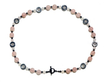 Vintage Rose Quartz Bead and Hematite Bead Necklace, Bridesmaid necklace, Mother necklace