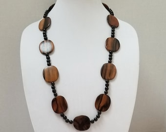 Wood Bead Necklace, Brown Wood Bead Necklace, Fall Necklace, Autumn Necklace, Long Brown Bead Necklace, Long Wood Bead Necklace