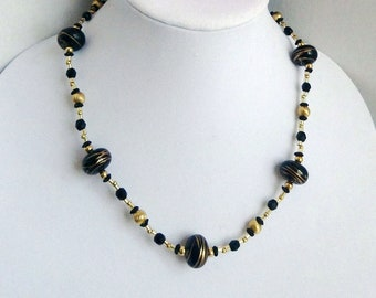 Black and Gold Bead Necklace, Wood Bead Necklace, Glass Bead Necklace