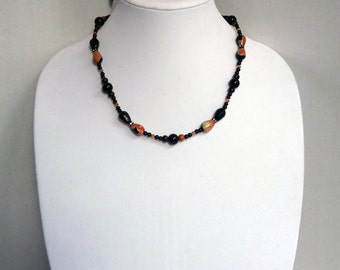 Black and Orange Agate Beads, Black Onyx Beads, Black Jasper Beads, Copper Swarovski Beads Necklace / Halloween Colors Necklace