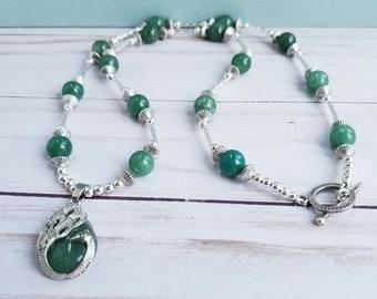 Peacock Aventurine Pendant, Aventurine Necklace, Aventurine Healing Amulet Pendant, Green Bead Necklace, Long Necklace