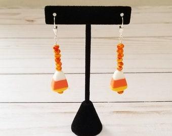 Halloween Earrings, Candy Corn Earrings, Dangle Earrings, Pierced Earrings, Orange Bead Earrings