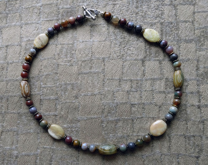 Jade, Jasper and Agate Beaded Necklace