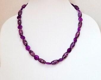 Purple Quartz Bead Necklace / Purple Mosaic Stone Bead Necklace / Purple Beaded Necklace / Mothers Day Necklace