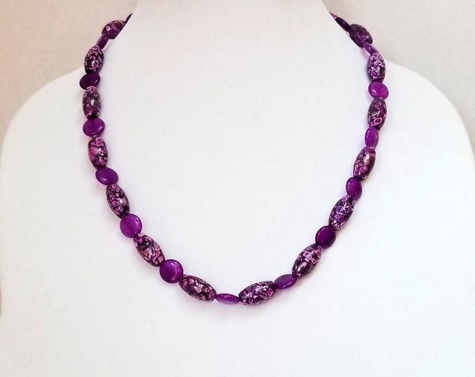 Purple Quartz Bead Necklace / Purple Mosaic Stone Bead Necklace / Purple Beaded Necklace /