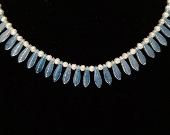 Featured listing image: Blue Glass Dagger Necklace, White Pearl Necklace, Blue Bead Necklace, Blue and White Necklace, Czech Glass Dagger Choker, Beaded Choker