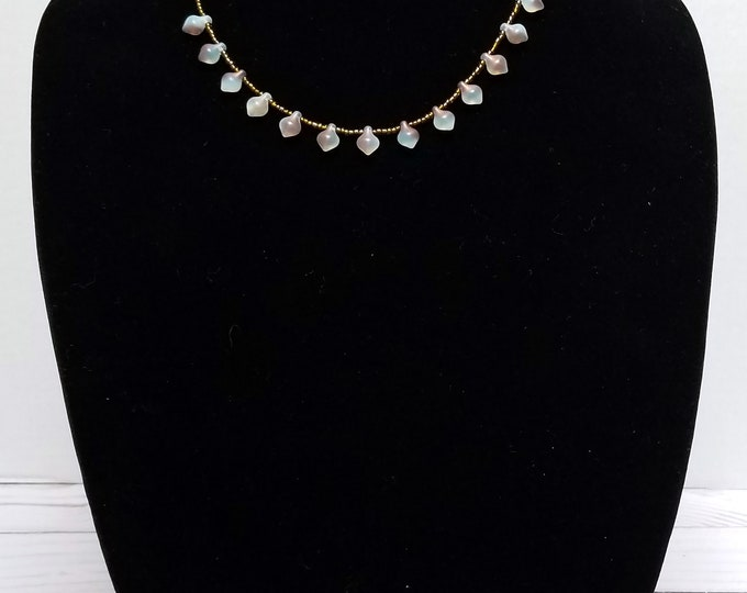 Blue Teardrop Glass Bead Necklace / Blue Czech Glass Necklace / Brown Seed Bead Necklace / Blue and Brown Glass Bead Necklace /