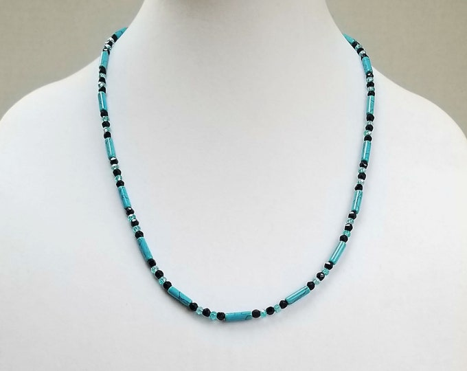 Turquoise Howlite Necklace, Vintage Black Glass Bead Necklace, Turquoise Crystal Bead Necklace, Layering Turquoise Necklace