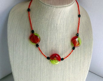 Red Venetian Blown Glass Beads, Black Onyx Beads and Red Glass Seed Beads Necklace