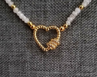 Carabiner Heart Pendant, Gold Heart Necklace, Moonstone Bead Necklace, White Bead Necklace, Carabiner Clip Style Heart Pendant