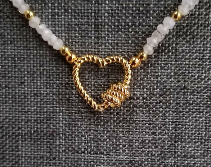 Featured listing image: Carabiner Heart Pendant, Gold Heart Necklace, Moonstone Bead Necklace, White Bead Necklace, Carabiner Clip Style Heart Pendant