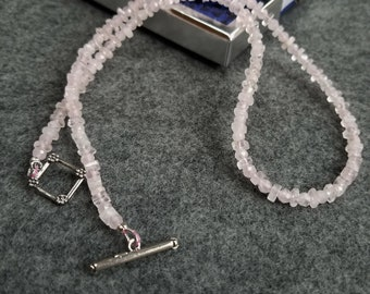 Rose Quartz Necklace, Minimalist Necklace, Layering Necklace, Pink Dainty Necklace