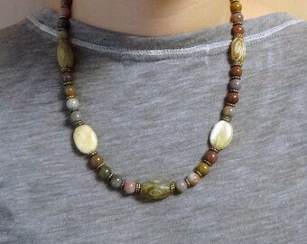Jade Beads, Jasper Beads and Agate Beaded Necklace / Fall Necklace / Autumn Necklace