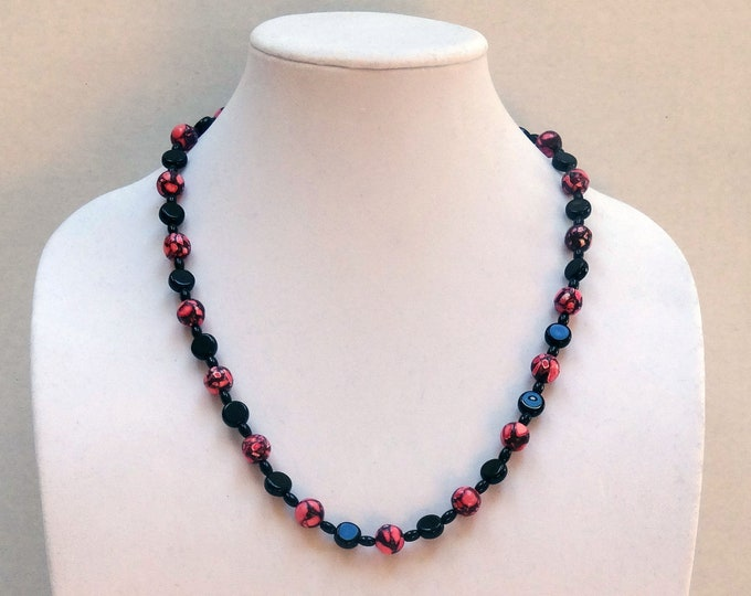 Pink Marble Agate, Black Agate and Black Glass Bead Necklace