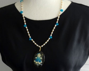 Christmas Necklace / Freshwater Pearls and Blue Czech Glass Beads Necklace / Old World Santa Russian Pendant