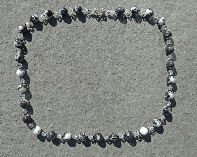 Black and White Jasper Beads, Clear Swarovski Beads and Black Glass Seed Beads Necklace