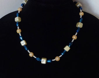 Blue Iridescent Teardrop Crystal Beads, Pearl Coated Glass Beads, Gold Mesh Beads Necklace / Pantone Color 2020