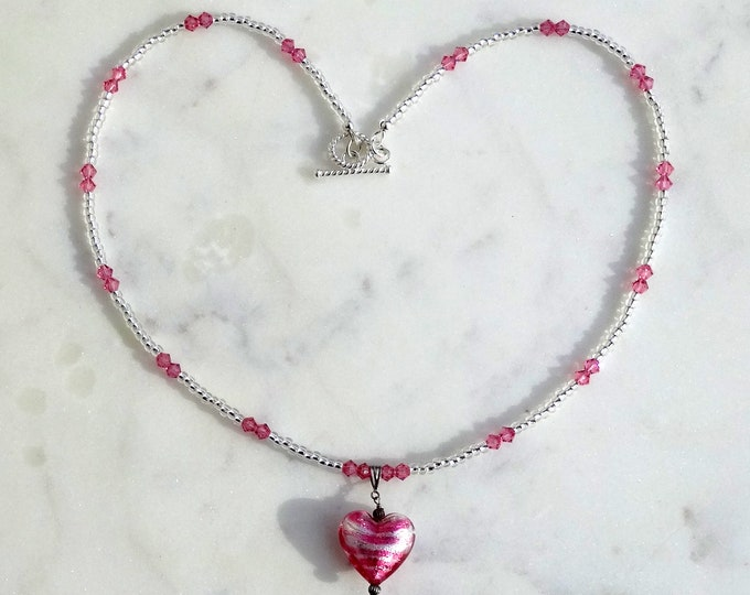 Pink Lampwork Glass Heart Pendant on a Pink Swarovski Crystal Bead and Silver Lined Crystal Glass Seed Bead Necklace, Valentine Necklace