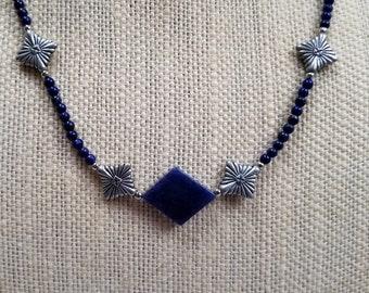 Lapis Minimalist Necklace, Blue Bead Necklace, Lapis Layering Necklace, Lapis Dainty Necklace, Lapis Focal Bead
