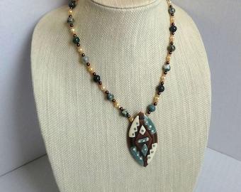Green Jasper Beads, White Button Pearls, Bronze Czech Beads Necklace / Enamel Copper Pendant