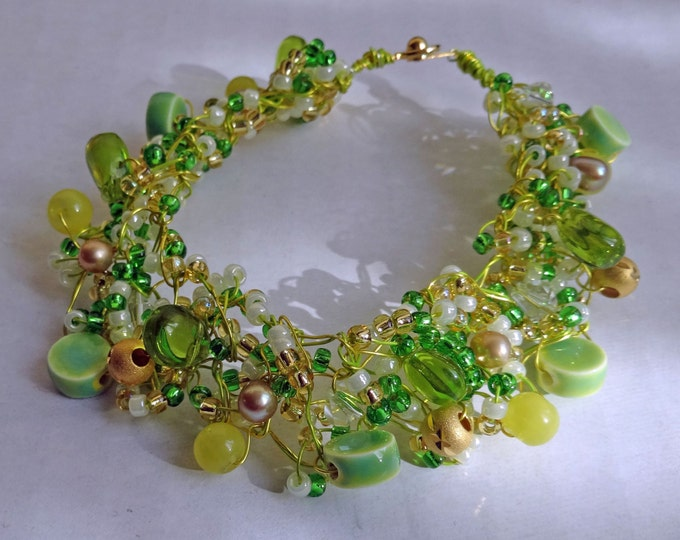 Green Beaded Hand Knitted Wire Bracelet made with Freshwater Pearls, Glass Beads and Gold Metal Beads, St Patrick's Day bracelet