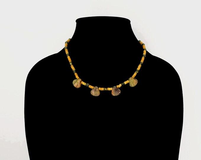 Ceramic Shell Necklace / Yellow Jade Necklace / Yellow Bead Necklace / Shell Choker / Yellow Bead Choker / Layering Choker / Summer Choker