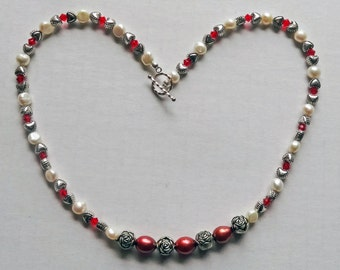 Red and White Pearls, Silver Heart and Flower Beads, Red Swarovski Beads Necklace / Red, White and Silver Necklace / Pearl Necklace