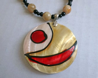 Mother of Pearl Bead and Black Glass Bead Necklace, Abstract Art Deco Design Shell Pendant