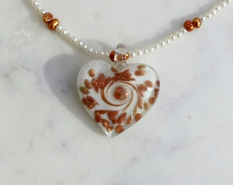 Freshwater White and Bronze Pearl Necklace, White and Bronze Murano Glass Heart, Romantic Necklace
