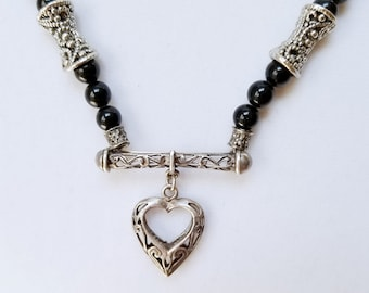 Silver Heart Necklace, Vintage Black Glass Bead Necklace, Silver Heart Pendant, Romantic Necklace, Valentines Day Gift