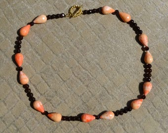 Brown Smokey Quartz Beads, Brown Swarovski Crystals Beads and Dyed Coral Resin Beads Necklace, Fall Necklace, Autumn Necklace