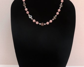 Vintage Rose Quartz Bead and Hematite Bead Necklace / Bridesmaid necklace / Mother necklace  / Spring Necklace