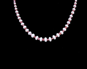 Pink and White Bead Necklace, Pink Rhodonite Bead Necklace, Natural Shell Bead Necklace, White Czech Glass Bead Necklace