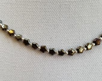 Brown Glass Star Bead Necklace, Czech Glass Bead Necklace, Brown Minimalist Necklace, Layering Necklace