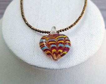 Lampwork Heart Pendant, Copper Hematite Necklace, Striped Heart Necklace, Minimalist Heart Necklace, Beaded Necklace