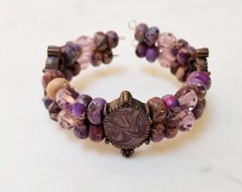 Purple Jasper Memory Wire Cuff Bracelet, Purple Bead Cuff Bracelet, Jasper Cuff Bracelet, Metal Bead Cuff Bracelet