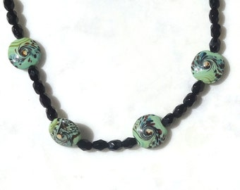 Black Onyx Necklace, Green, Hand Painted, Abstract Ceramic Beads Necklace, Green Ceramic Bead Necklace, Black and Green Bead Necklace