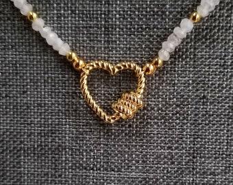 Carabiner Heart Pendant, Gold Heart Necklace, Moonstone Bead Necklace, White Bead Necklace, Carabiner Clip Style Heart Pendant