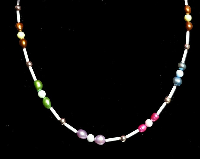 Featured listing image: Multi-color Freshwater Pearl and Swarovski Crystal Pearl Beaded Necklace, Pastel Pearl Necklace, Spring Necklace, Summer Necklace