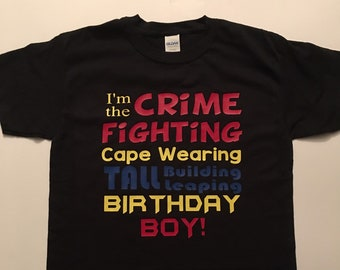 Superhero Birthday Shirt With Cape