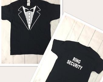 4905bb2ad Ring Security shirt - ring bearer t-shirt - tuxedo shirt - wedding  rehearsal shirts - tux shirt
