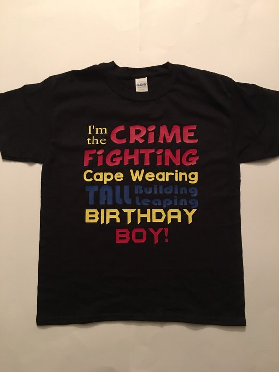 Superhero Birthday Shirt Cape Wearing
