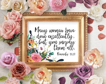 Proverbs 31 Scripture Prints, Proverbs 31 Mom, Bible Verse Printables, Christian Wall Art, Christmas Gift For Wife, Printable Bible Verses