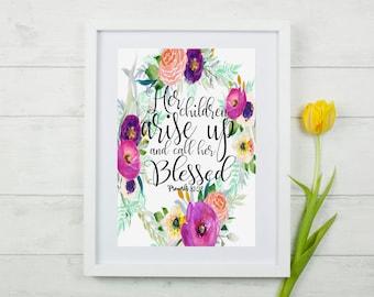 Proverbs 31 Scripture Wall Art, Proverbs 31:28 Bible Verse, Proverbs 31 Scripture Print, Floral Proverbs 31 Scripture, Proverbs 31 Mom Print