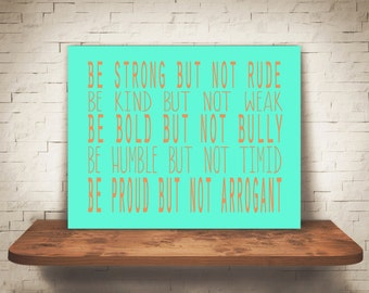 Be Strong But Not Rude, Motivational Quote, Peach and Mint Green, Wall Art, Inspirational Quote, Home Decor Instant Download
