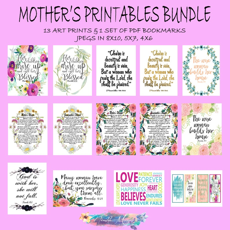 photograph regarding Mom Printables named Moms Working day Printables Package deal, Scripture Prints, Moms Working day Print Present, Christian Mother Present, Mother Printables, Printable Bible Verse Bookmark