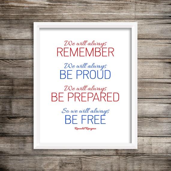 Ronald Reagan We Will Always Remember Ronald Regan Quote Etsy