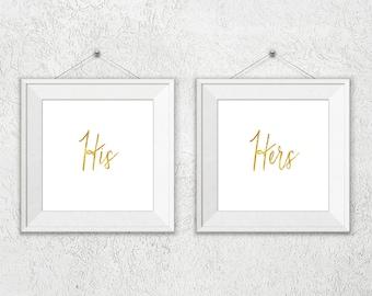 His Hers Wall Art, Faux Gold Foil Art Prints, His Hers, His and Hers Wall Set, 2 Set Art Prints, Gold Wall Art Sets, Faux Gold Foil Decor