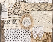 Lace and fabric journal pack with assorted vintage laces, bundle for junk journals scrapbooks crazy quilts 14 pieces