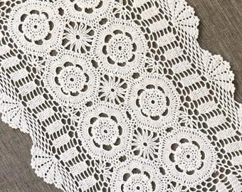"""vintage 7.5"""" 19cm ecru doilie doily doiley embroiderd lace round"""